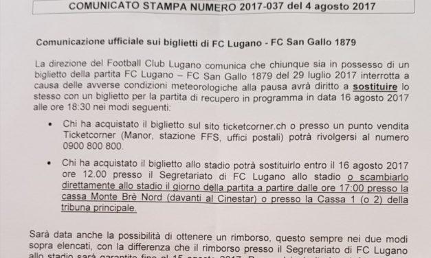 Comunicato stampa ufficiale sui biglietti di Lugano-San Gallo