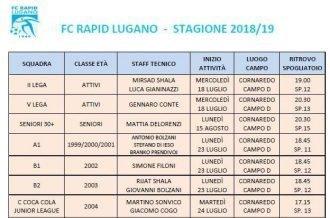 Comunicato FC Rapid Lugano settore giovanile